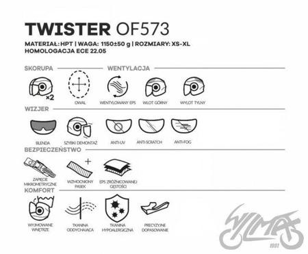 Kask otwarty LS2 OF573 TWISTER COMBO czarno-srebrny